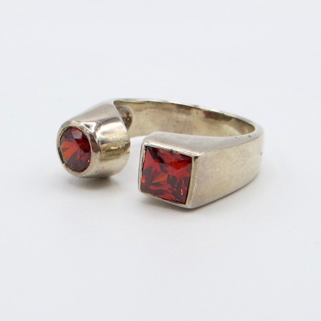 Circle/Square Garnet Ring