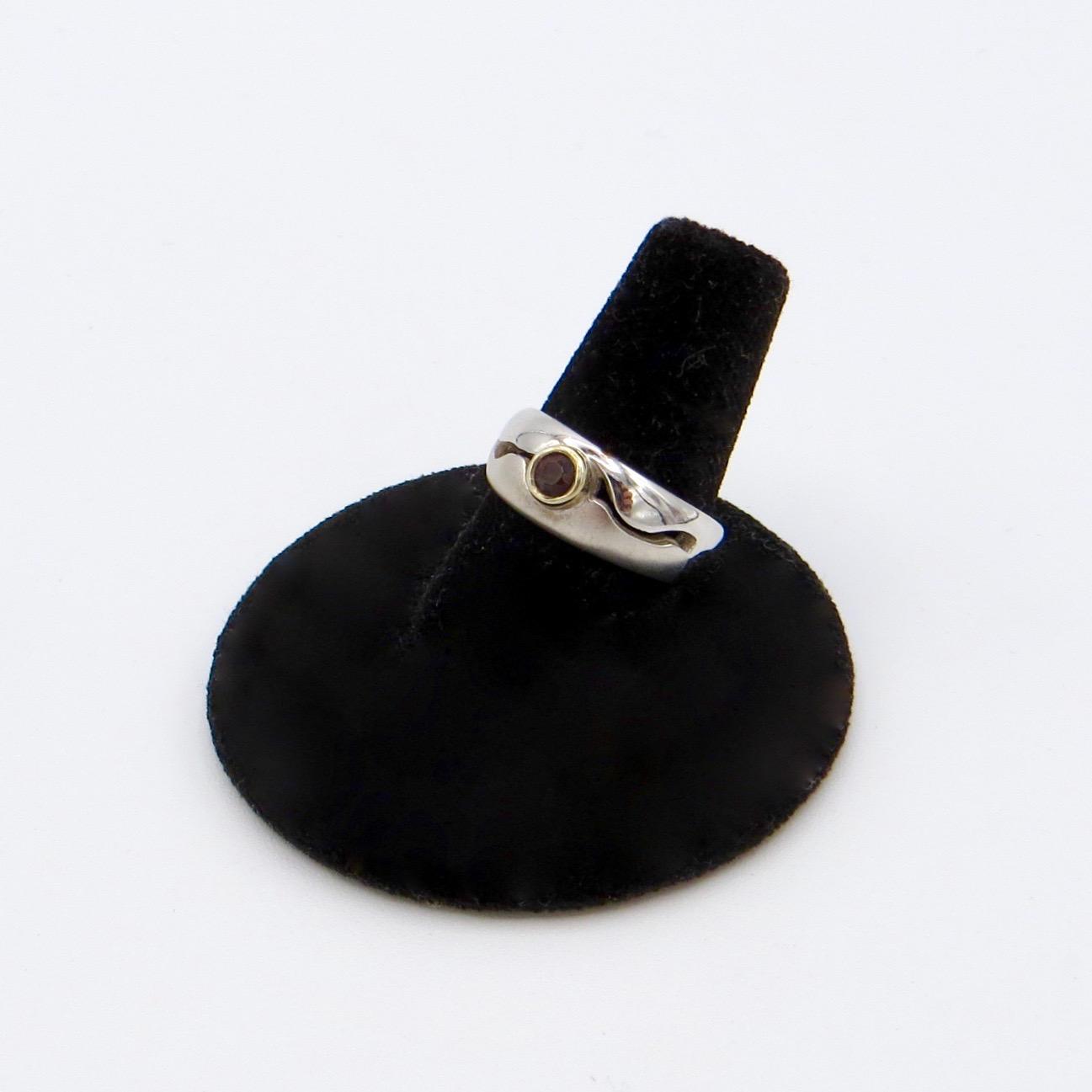 Silver & 14kt Gold Garnet Ring