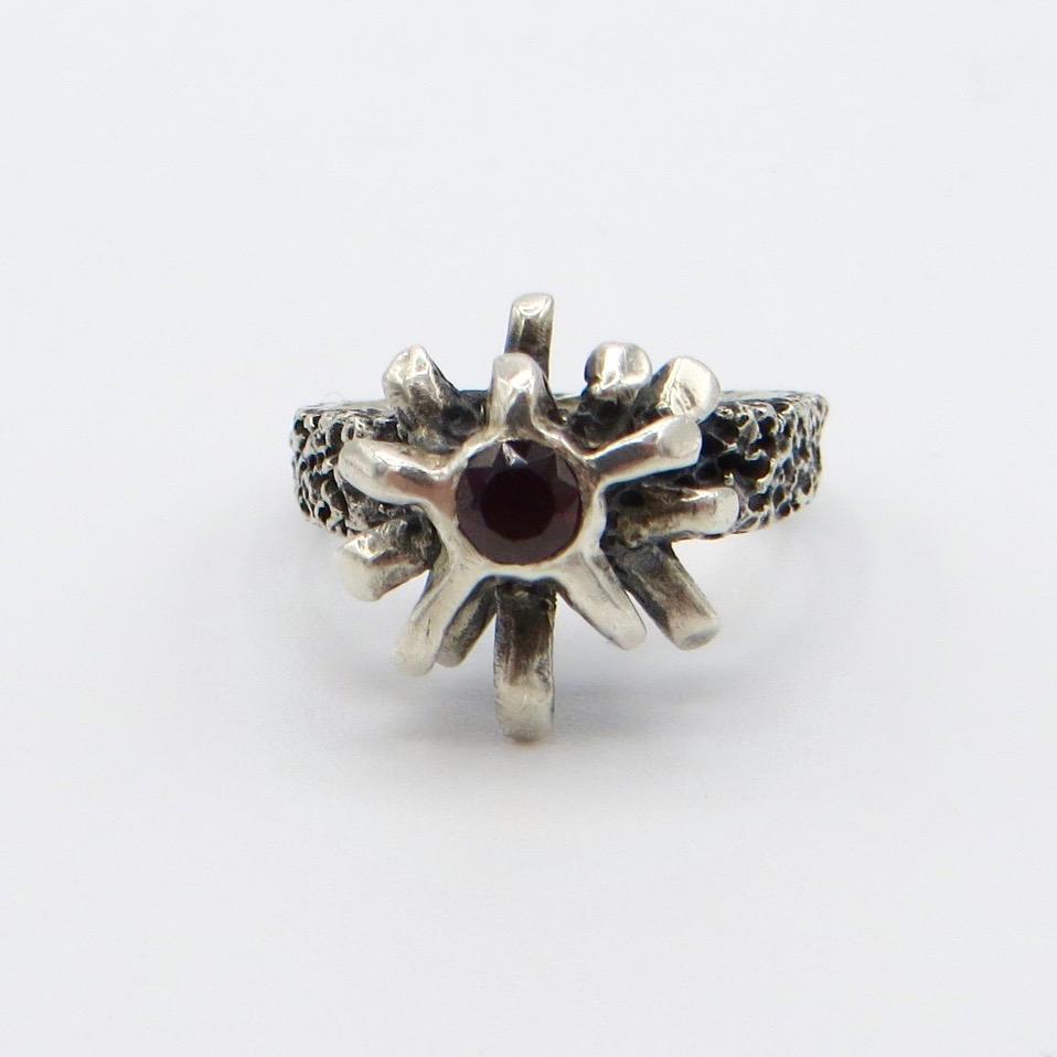 Silver & Garnet Starburst Ring