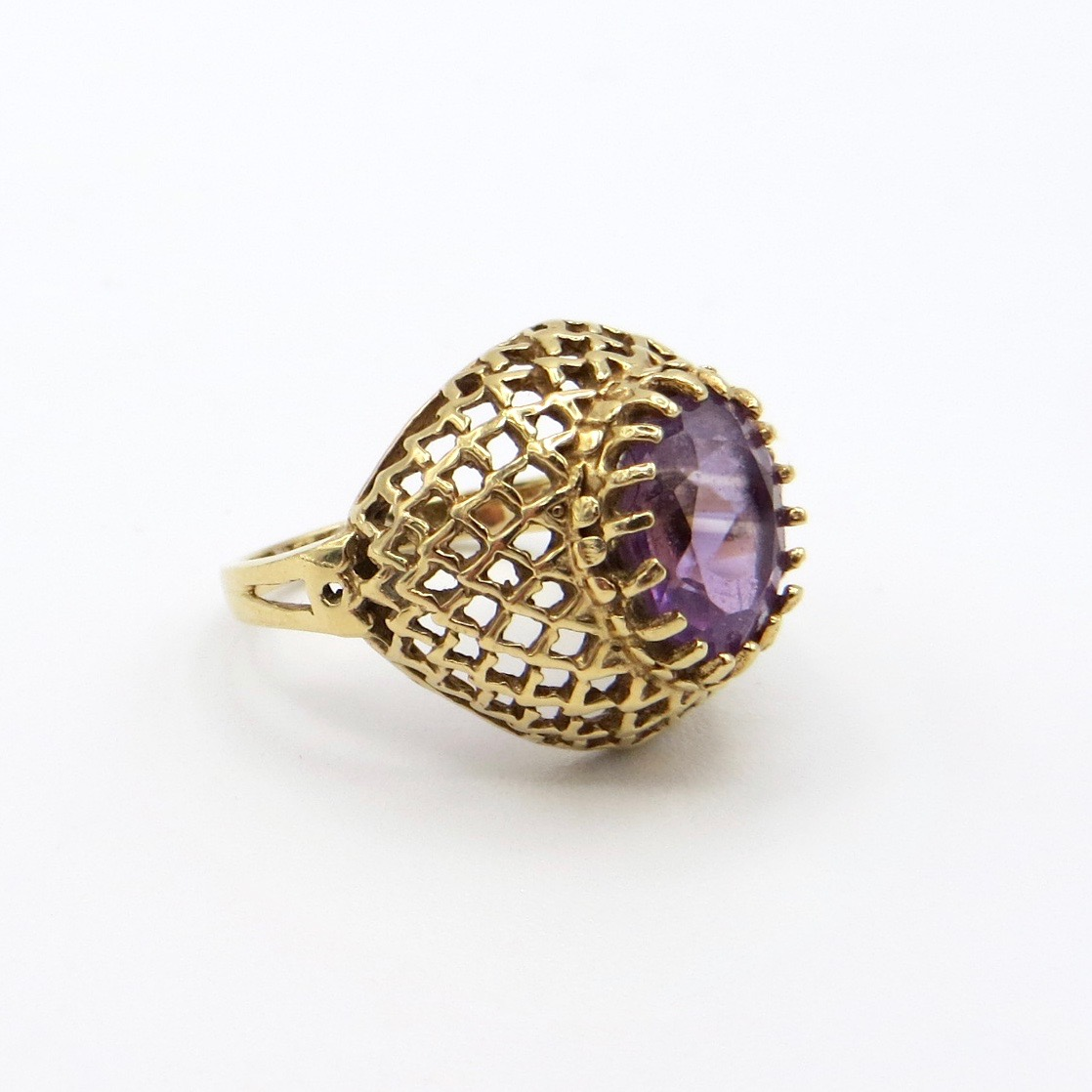 14kt Gold & Amethyst Net Ring
