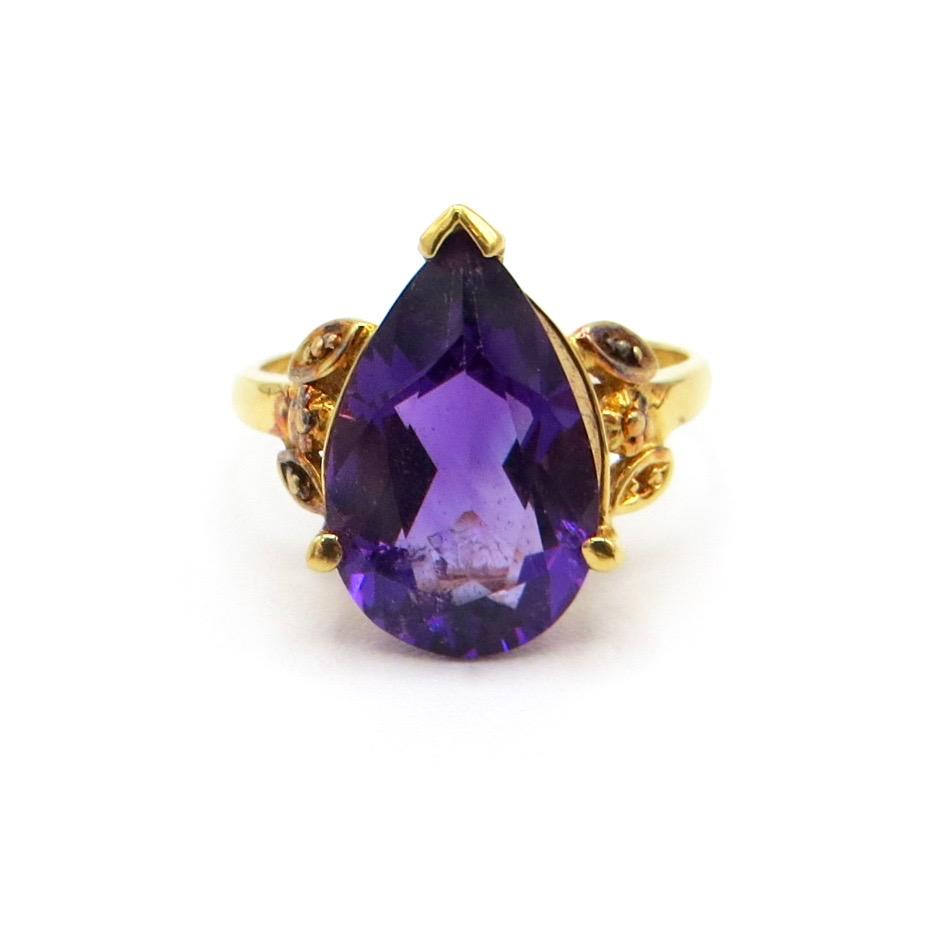 Sterling Gilt & Amethyst Ring