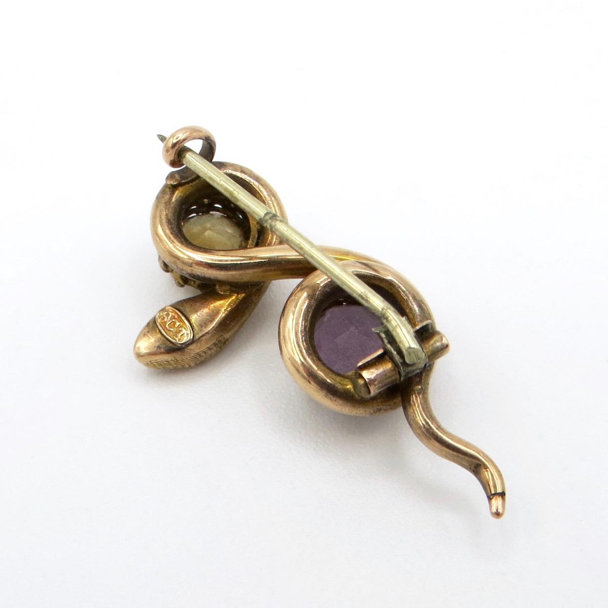 Citrine & Amethyst Snake Brooch