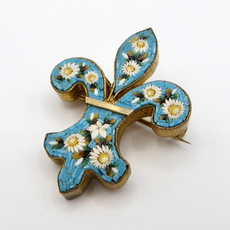 Micromosaic Fleur-de-Lis Brooch