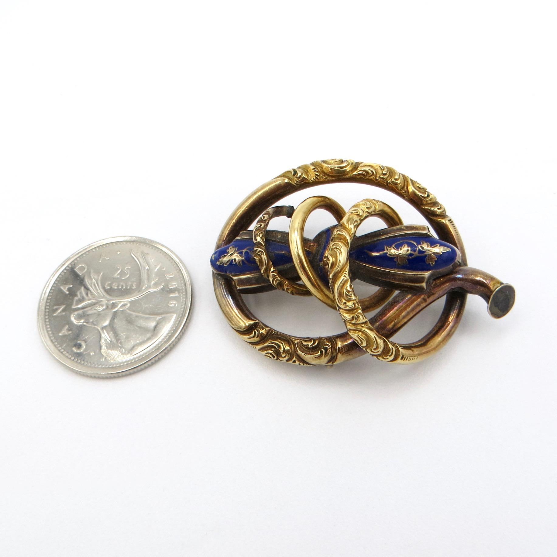 Blue Enamel Victorian Brooch