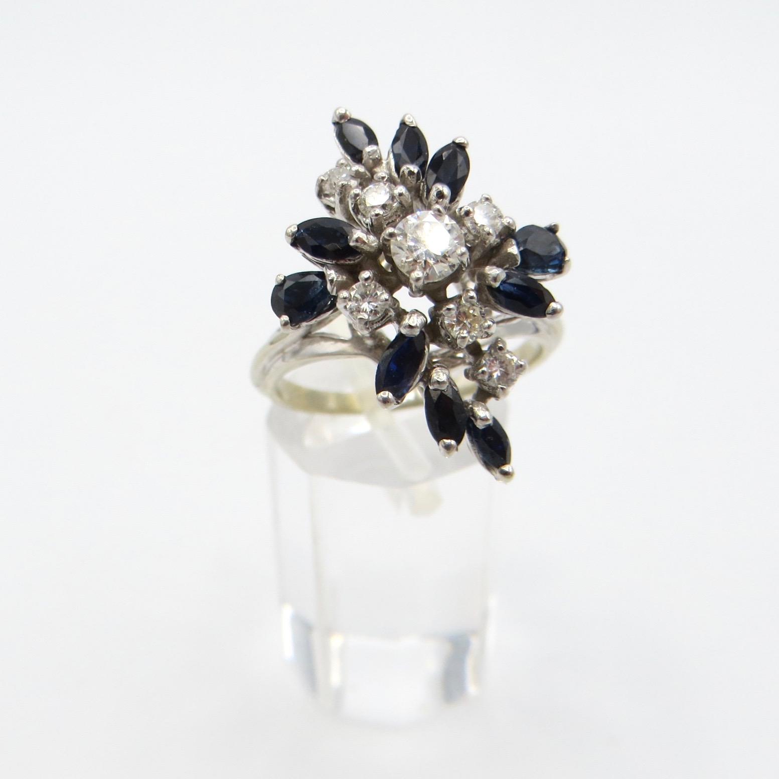 14kt White Gold, Diamond & Sapphire Ring