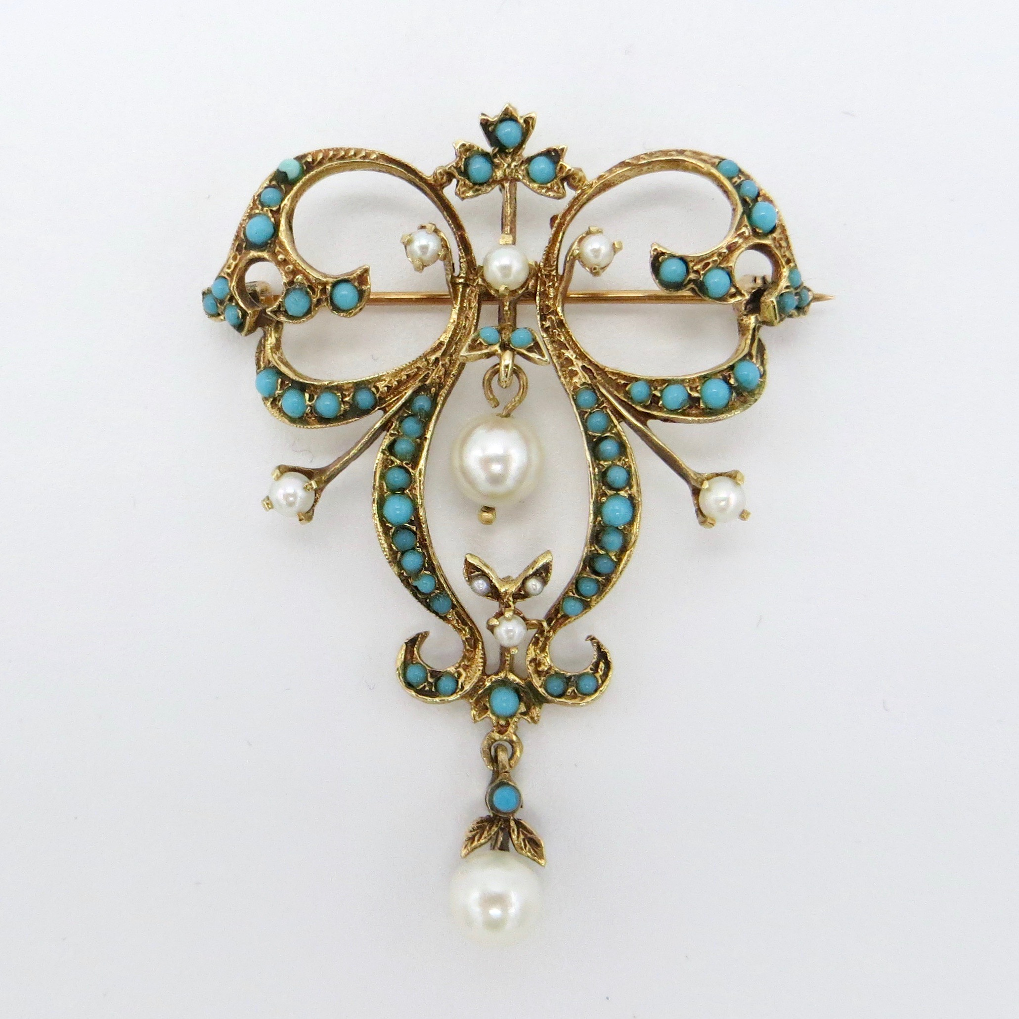 Turquoise & Pearl Brooch/Pendant