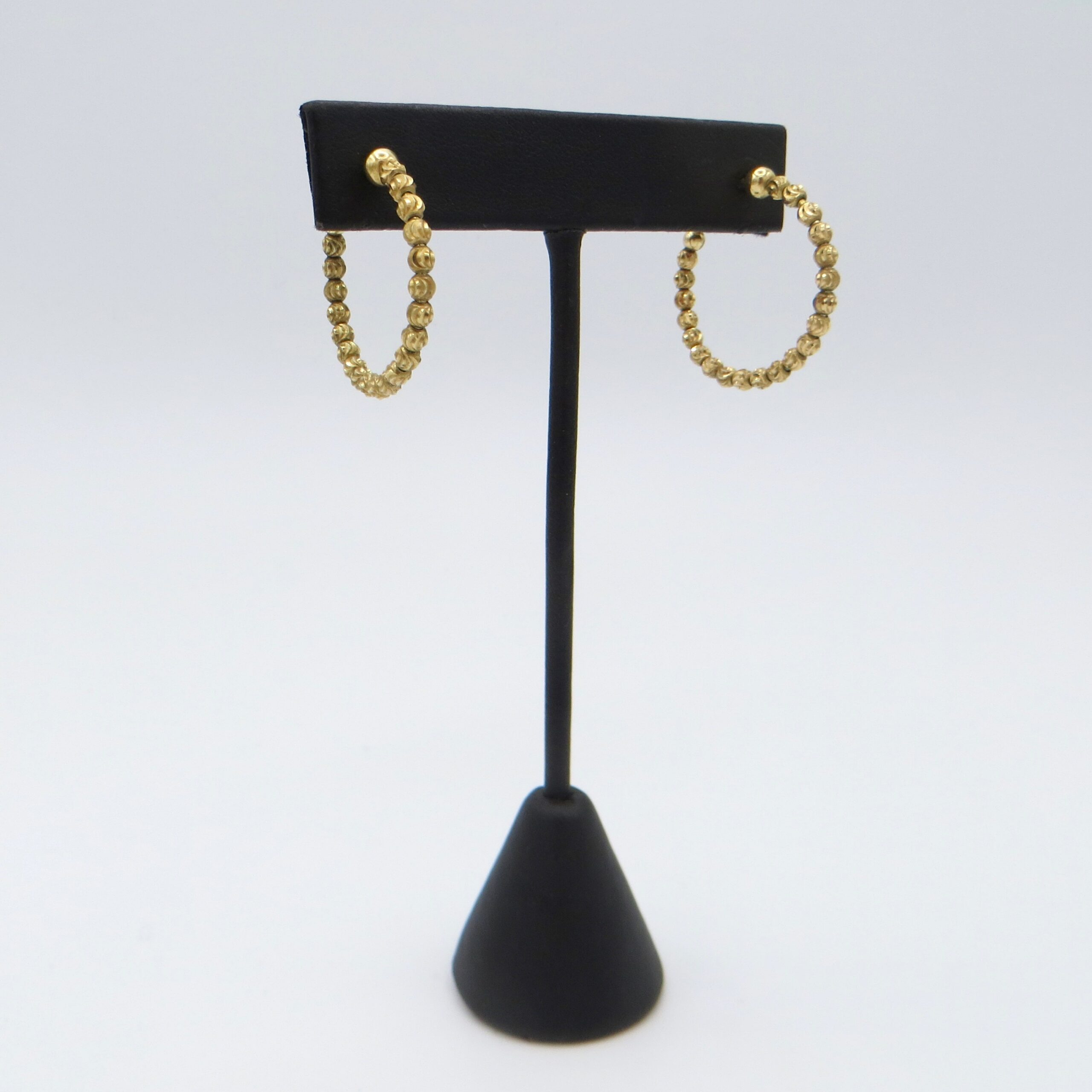 Sterling Gilt Beaded Hoop Earrings