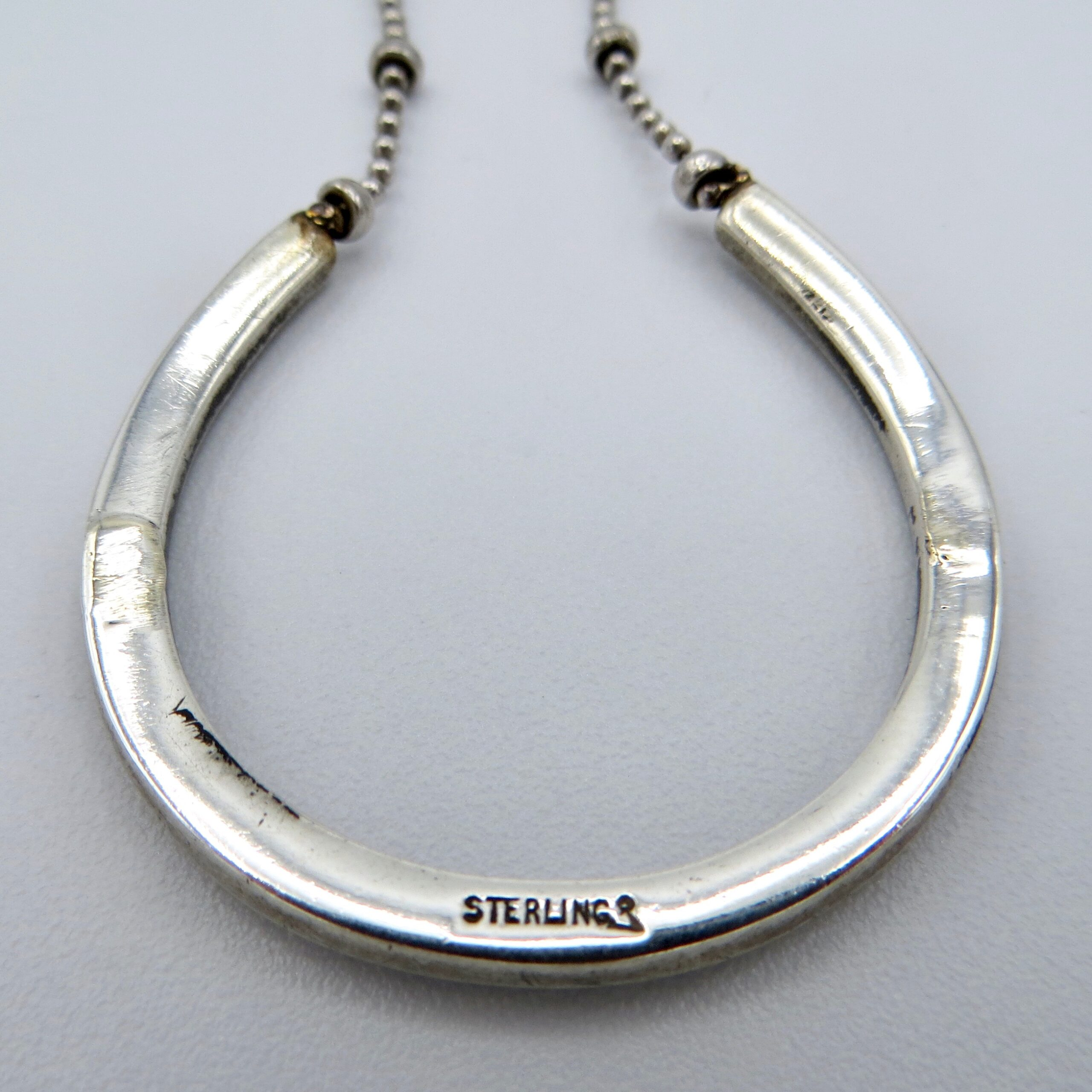 Adapted Victorian Silver & Pearl Horseshoe Necklace