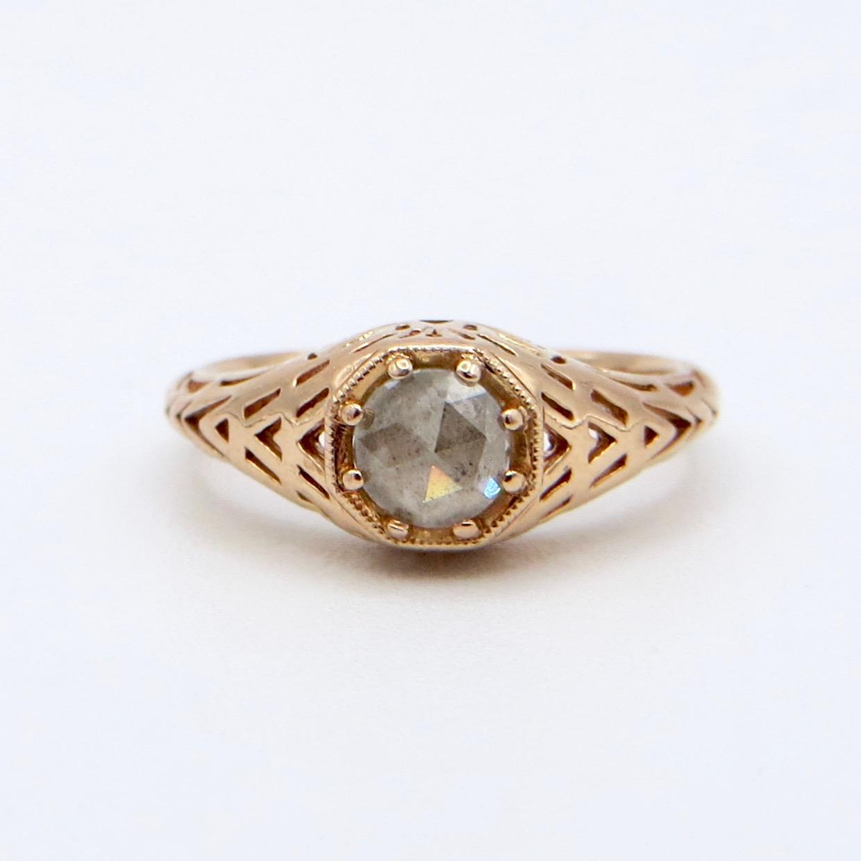 Rose Gold Rose Cut Diamond Ring