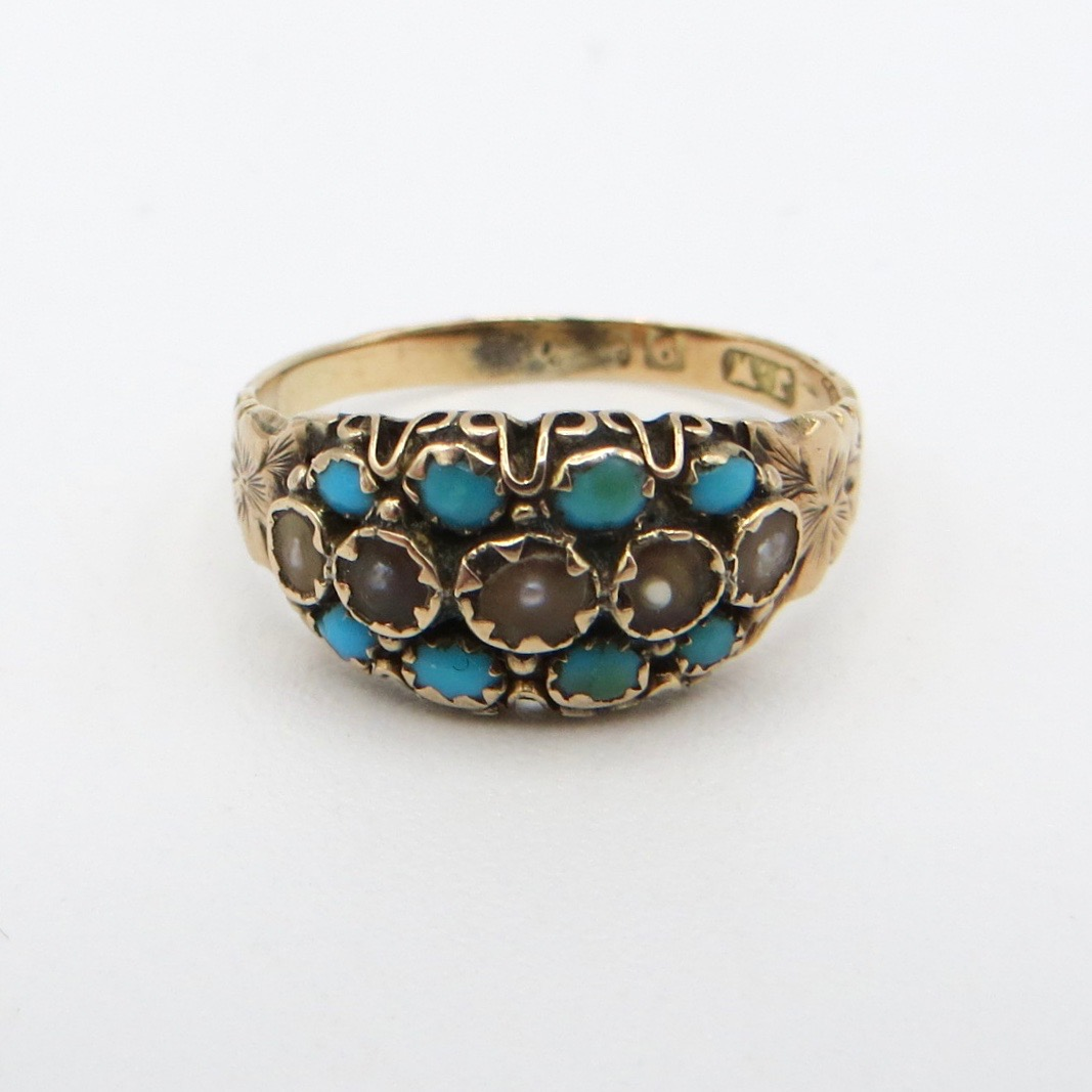 Victorian 9ct Pearl & Turquoise Band