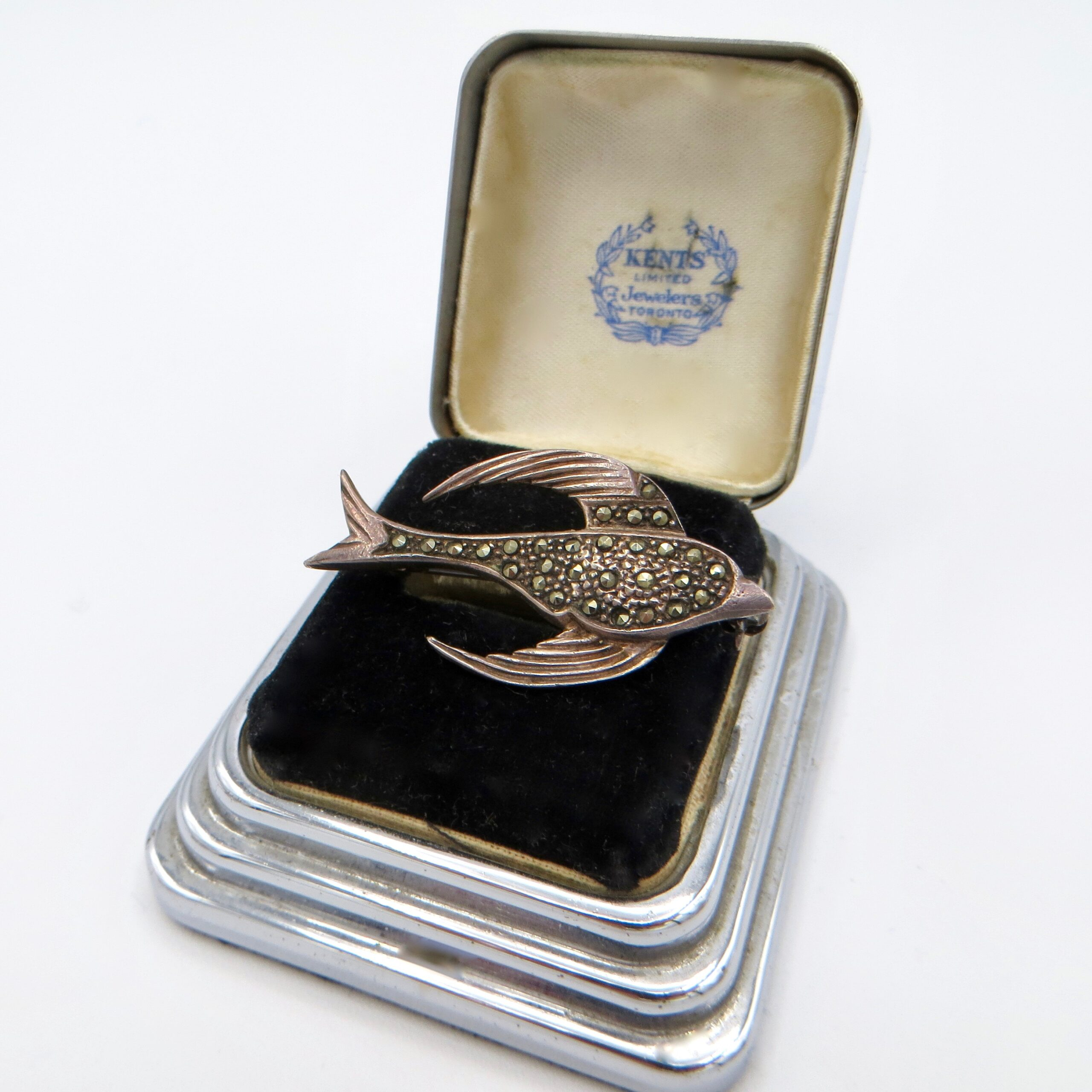 Sterling & Marcasite Bird Brooch