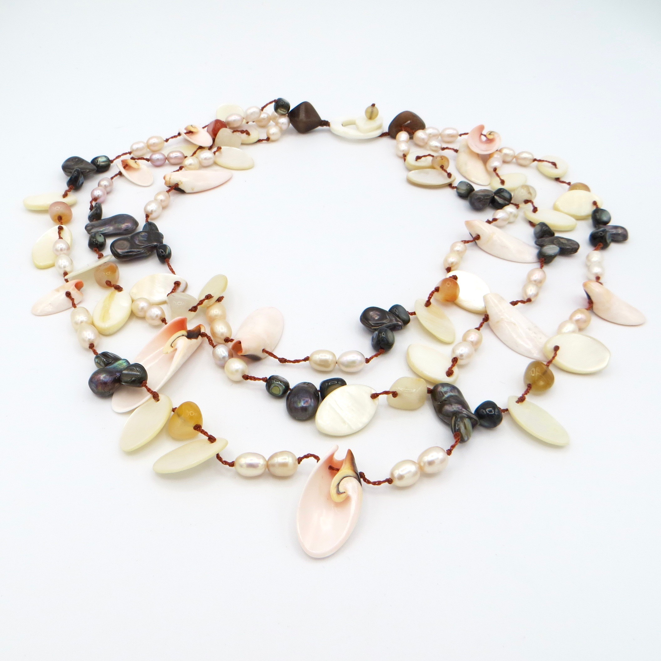 Modern Shell, Agate & Pearl Necklace