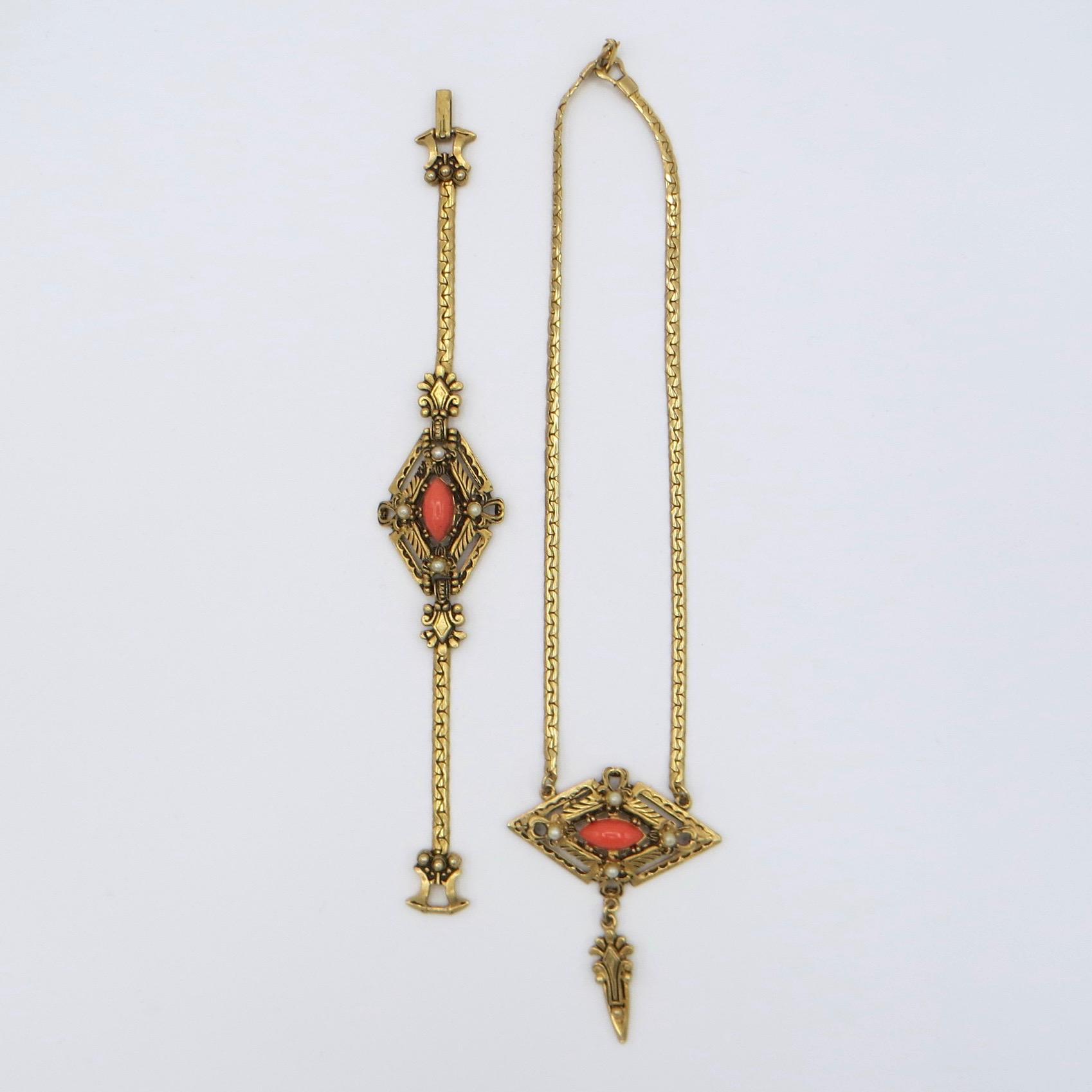 1950s Victorian Revival Necklace & Bracelet Set