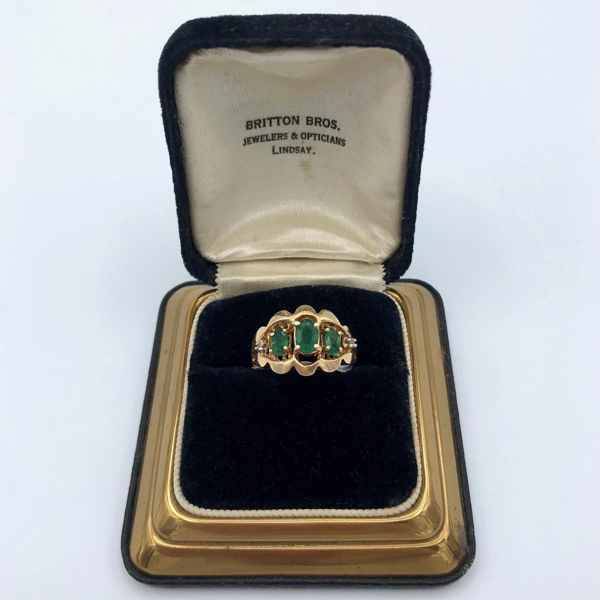 14kt Gold, Emerald & Diamond Ring