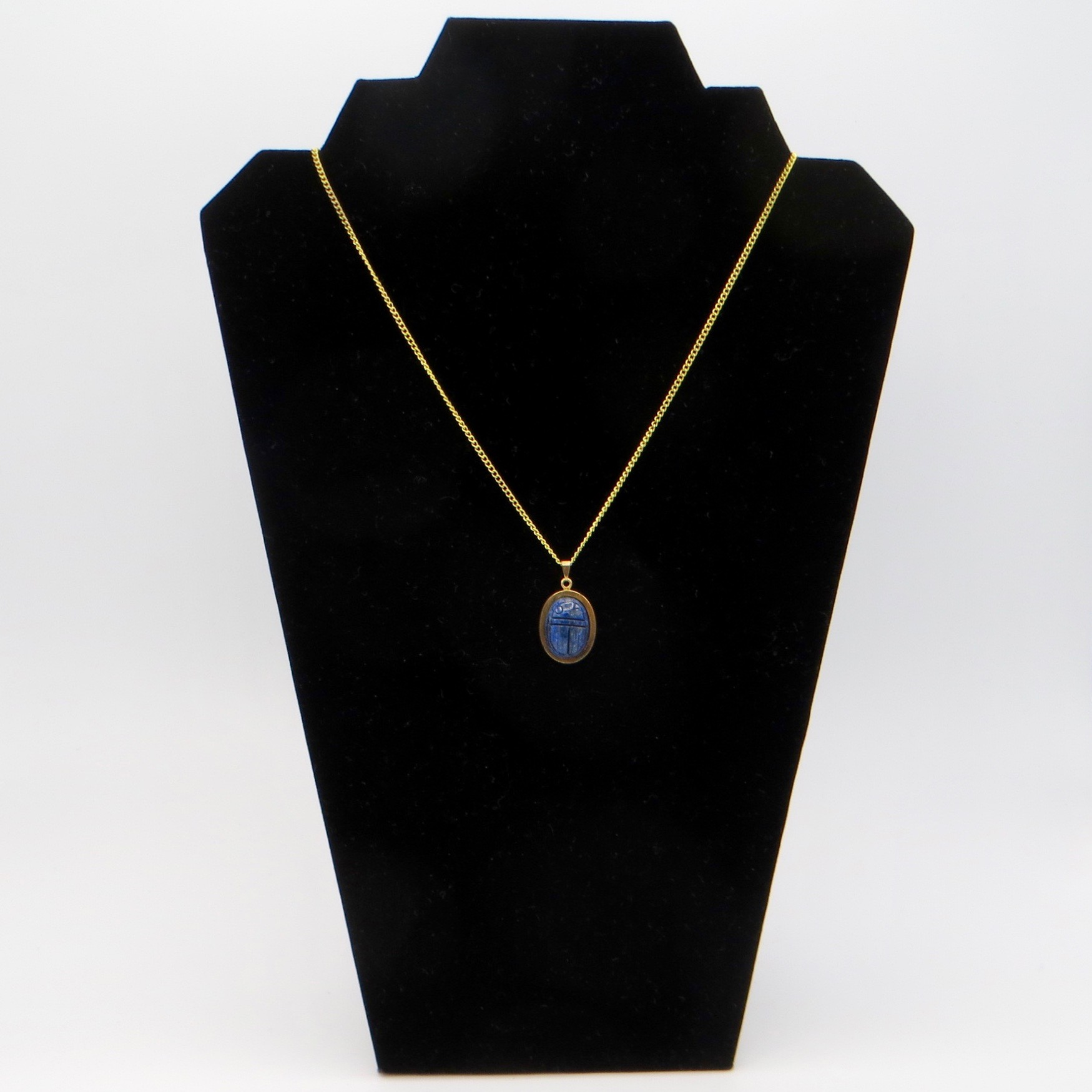 1950s Gold-Filled Carved Sodalite Scarab Necklace