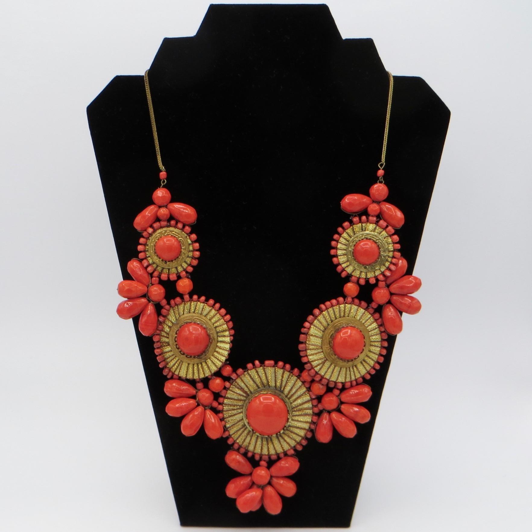 Modern Orange Flower Bib Necklace