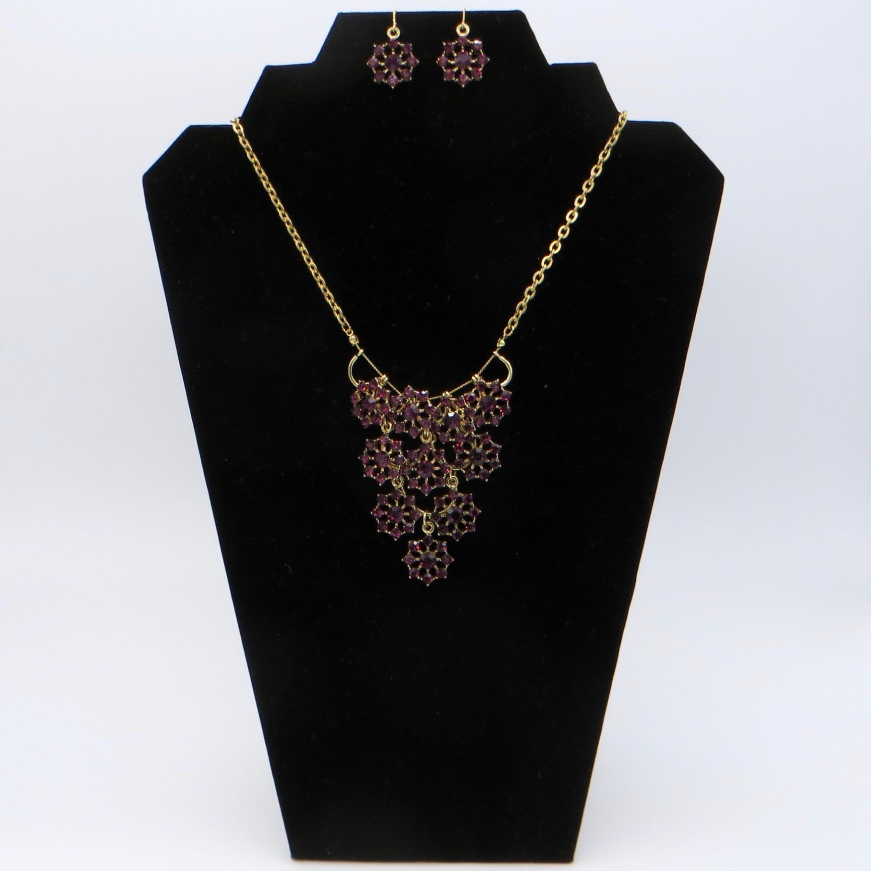 Modern Purple Stone Necklace & Earring Set