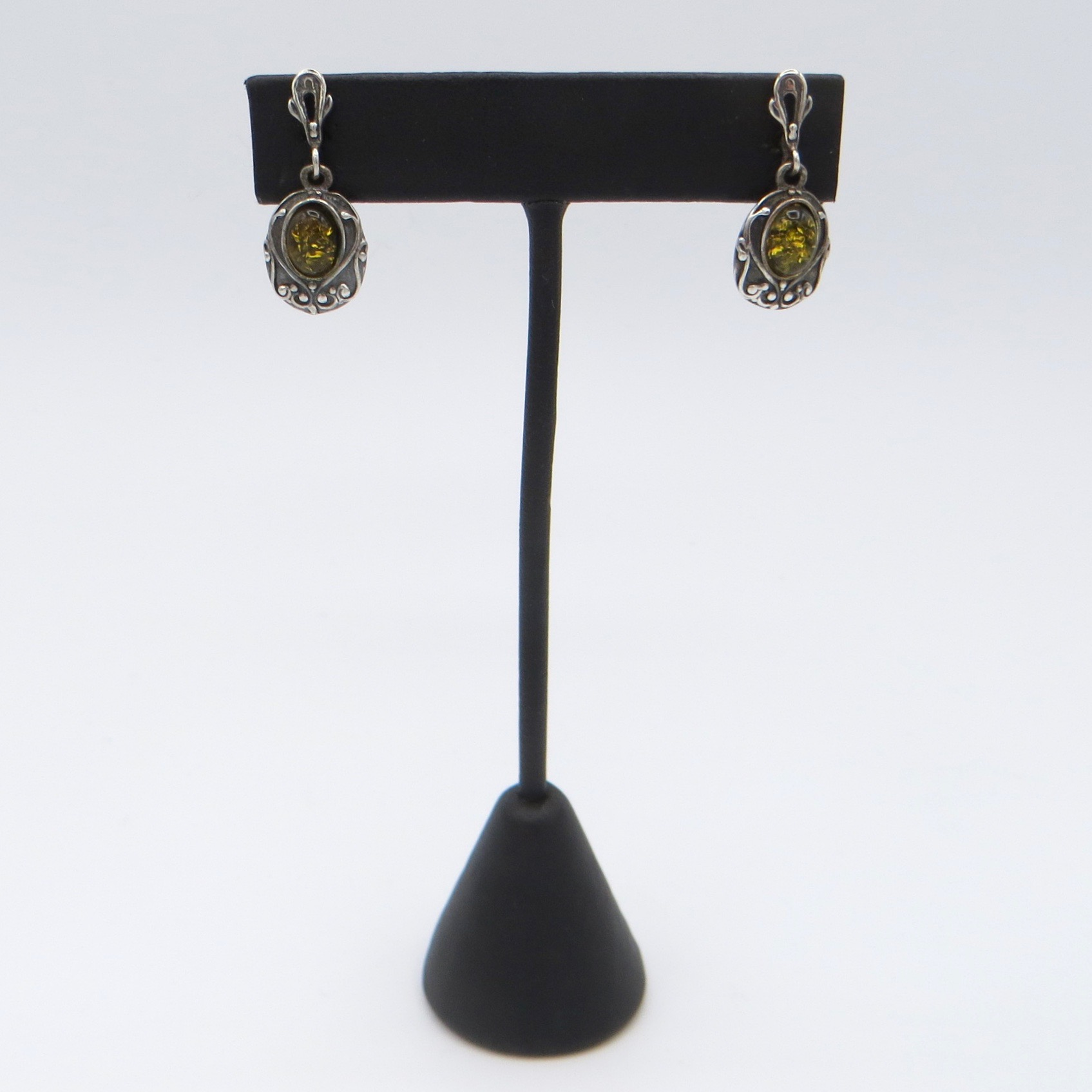 Sterling Silver & Amber Earrings