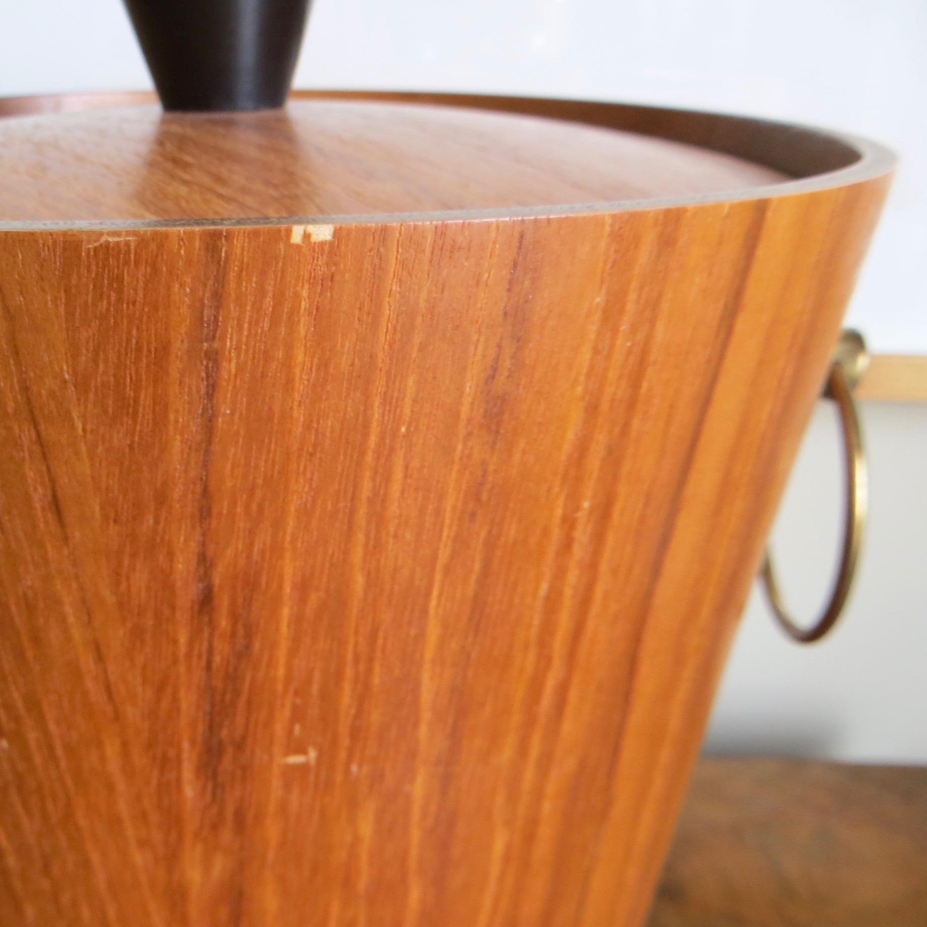 Mid-Century Teak Ice Bucket & Tongs