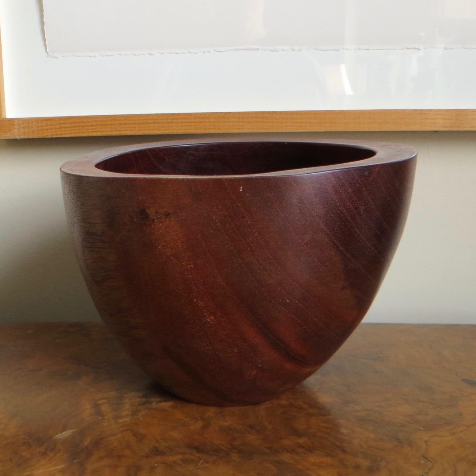 Hand-Carved Mahogany Bowl