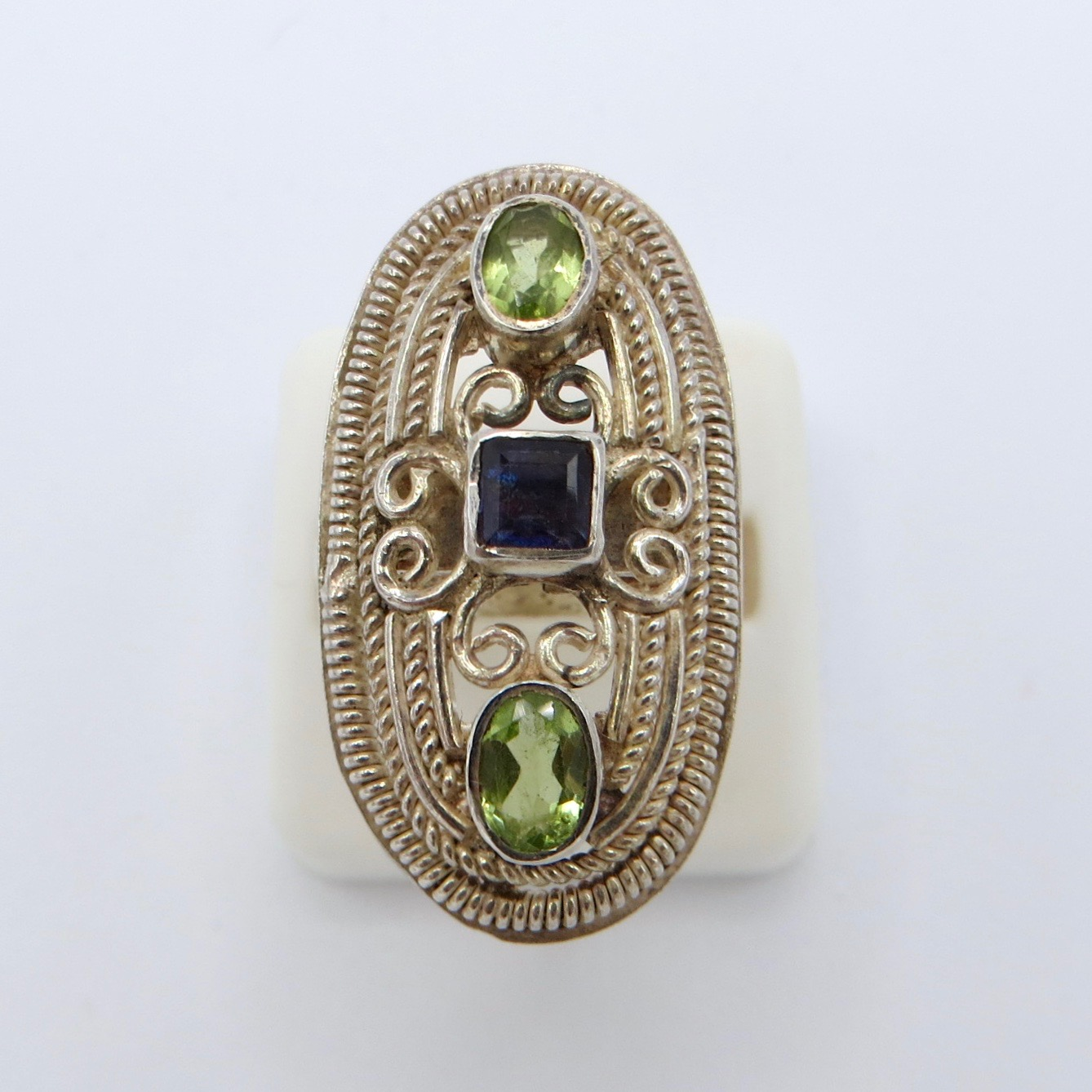 Sterling Silver Filigree Ring with Peridot and Iolite