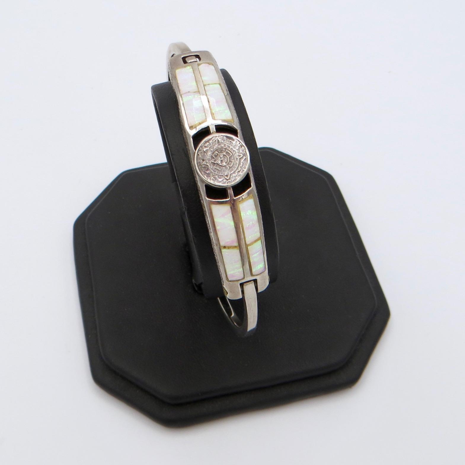 Sterling Silver & Opal Panel Bracelet